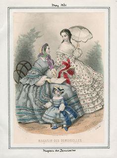 Magasin Des Demoiselles fashion plate published May 1860. Casey Fashion Plates, LAPL.