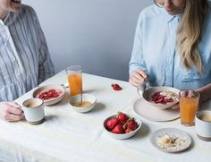 Chia up: roasted strawberries brighten up a bowl of chia seeds for a proper food-lover's breakfast..