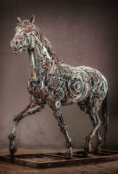 Animal Sculptures Made Of Scrap Metal By Hasan Novrozi Equine steampunk - advanced horsepower - faster than a speeding bullet.Equine steampunk - advanced horsepower - faster than a speeding bullet. Sculpture Metal, Horse Sculpture, Animal Sculptures, Abstract Sculpture, Modern Sculpture, Sculpture Ideas, Metal Tree Wall Art, Scrap Metal Art, Metal Artwork
