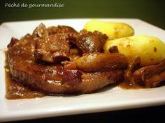 TENDRONS DE VEAU sauce aux cèpes - Sauce : vin rouge, cognac, bouquet garni, cèpes, oignon, lardons fumés, beurre, farine, sel/poivre.