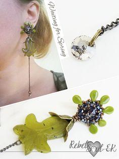 green gemstone earrings, genuine swarovski artisan jewelry, long beaded earrings, sterling silver stud, contemporary green flower