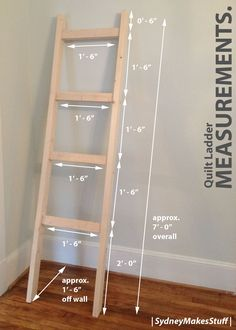 DIY Quilt Ladder – Step by step instructions on how to make your own display f. DIY Quilt Ladder – Step by step instructions on how to make your own display for quilts and blank Woodworking For Kids, Woodworking Projects Diy, Diy Wood Projects, Furniture Projects, Wood Crafts, Diy Furniture, Woodworking Plans, Diy Crafts, Furniture Plans