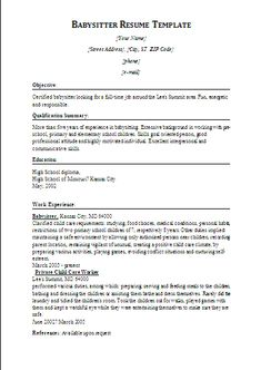 Babysitter On Resume Cv Template 6  Cv Template  Pinterest  Sample Resume Free .