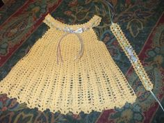 Vestido tejido a crochet en hilo de algodon