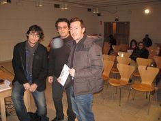 Javier Sánchez Zapatero, Alex Martín Escriba yAntonio Marcos Sánchez en las Jornadas de DE NEGRO en el Salón de Actos de la Biblioteca