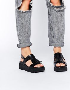 Image 1 of ASOS FLOCKLESS Leather Flatform Sandals