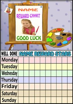 Reward Charts | JJB Print: Personalised Children's Reward Charts, Party Invitations, Kid's Thank You Cards, Placemats, Bookmarks, Door Plaques.