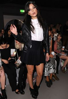 Daisy Lowe, pleated skirt & leather jacket