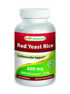 Red Yeast Rice 600 mg with Policosanol 10 mg 120 Capsules by Best Naturals * Can't believe it's available, see it now : Herbal Supplements