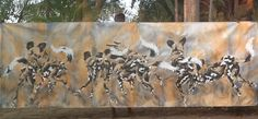 Golden Dog Days -acrylic on canvas, 4 meters long, by Lin Barrie