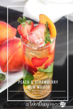 Rum Mixed Drinks, Peach Drinks, Strawberry Drinks, Fancy Drinks, Summer Drinks, Simple Mixed Drinks, Spiced Rum Drinks, Strawberry Limeade, Gold Drinks