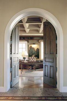 Beautiful Arched Doors and Doorway - via David Michael Miller - Providence Design French Doors Bedroom, Bedroom Doors, Master Bedroom, Arch Doorway, Arched Doors, Entry Doors, Stone Flooring, Great Rooms, Sweet Home