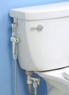Introducing the New & Improved, Patent Pending Aquaus 360°, the World's First Hand Held Bidet with thumb pressure controls on both sides of the sprayer.