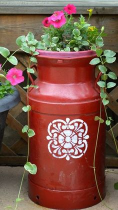stenciled milk can planter