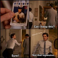 Peter's baseball card. White Collar Quotes.