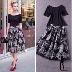 """Black & White Two Piece Skirt Set S, M, L -NWT-Two piece skirt set-stretchy black t-shirt & a full black and white paisley skirt covered by black tulle. Run VERY small and come in S (2) M (6) & L(8). S top around underarm 32"""", shoulder seam to seam 13"""", length 22"""", S skirt 22"""" waist (unstretched),length 27"""". M to around u.a. 33"""", shoulder seam to seam 15"""""""", length is 23"""". M skirt waist is 24"""",length is 28"""". top u.a around is 34"""", shldr seam to seam 16"""", length 23"""", skirt waist 26"""", length is…"""
