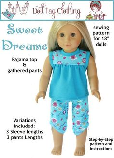 Doll Tag Pajama Pattern for American Girl ® Dolls | Liberty Jane Doll Clothes Patterns For American Girl Dolls