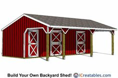 Run in shed and small horse barn plans from iCreatables. Search through our shed designs and plans by style and size. Horse Shelter, Horse Stables, Horse Farms, Lean To Shed Plans, Run In Shed, Small Horse Barns, Horse Pens, Cool Sheds, Free Shed