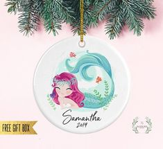 Personalized Mermaid Ornament, Christmas gift for girl, Christmas gift for daughter, Girls Christmas Ornament, Custom Mermaid Ornament Mermaid Ornament, Kraft Gift Boxes, Christmas Gifts For Girls, White Velvet, Gold Ribbons, Velvet Ribbon, All Design, Free Gifts, Halo