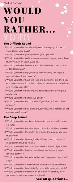 An icebreaker with hilarious results, check out our list of funny, dirty, weird 'would you rather' questions as well as many more! Would Rather Questions, Weird Questions To Ask, Questions For Girls, Question Games For Couples, Questions To Get To Know Someone, Questions For Friends, Questions To Ask Your Boyfriend, Funny Questions, Getting To Know Someone