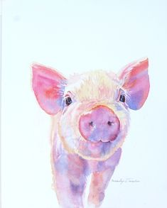 Farm Animals Watercolor Set Part 2 by Smolova Animal Sketches, Animal Drawings, Art Drawings, Watercolor Animals, Watercolor Art, Baby Farm Animals, Art Aquarelle, Arte Sketchbook, Pig Art