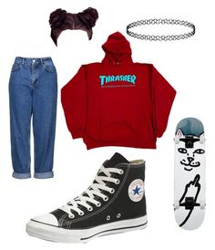 Skate girl by yanni-loenders on Polyvore featuring polyvore, fashion, style, Topshop, Converse and clothing