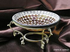Golden Mosaic Bowl with Brass Stand