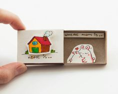 """Mother's Day Card """"Home is where mom is"""" Matchbox/ Gift box / Message box"""