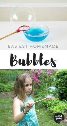 How to make homemade bubbles for kids so you have a never-ending supply of bubble solution. This homemade bubble recipe is easy and doesn't use glycerine. Homemade Bubble Recipe, Homemade Bubbles, How To Make Homemade, Homemade Crafts, Bubble Recipes, Homemade Bubble Wands, Toddler Fun, Toddler Crafts, Toddler Activities