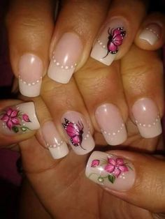 Fabulous Nails, Perfect Nails, Arabesque, Nail Ink, Nail Polish Jewelry, Butterfly Nail Art, Plain Nails, Manicure E Pedicure, French Nails