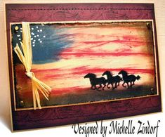 Patriotic Horses – Tutorial Artist: Michelle Zindorf Really Stunning card! Military Cards, Horse Cards, Westerns, Ppr, Animal Cards, Card Tutorials, Card Sketches, Watercolor Cards, Scrapbook Cards