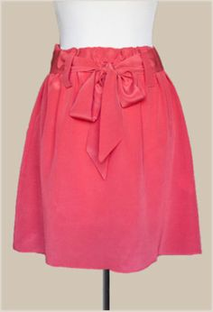 Coral Skirt with Sash Belt - $27
