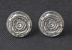 Handmade, contemporary, Galaxy stud earrings, silver swirl earrings, minimal disc earrings, embossed, quirky earrings, unique stud earrings