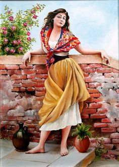 Genre Painting Painting - Spanish Gypsy Girl by Margaret Greczi