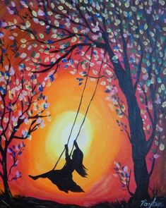 """""""Girl on a Swing"""" - Painting with Payton Sillouette Painting, Swing Painting, Shadow Painting, Easy Canvas Painting, Painting Of Girl, Painting & Drawing, Canvas Art, Oil Pastel Paintings, Oil Pastel Art"""