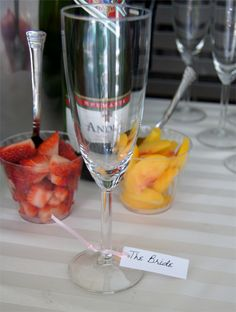 Personalized champagne or wine glasses for Bridal Shower