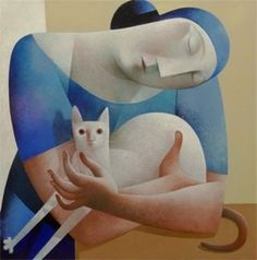 Mixed Media Figurative Art, Artist Study with thanks to Peter Harskamp, Resources for Art Students, CAPI ::: Action Painting, Kunst Portfolio, Portfolio Ideas, She And Her Cat, Image Chat, Figurative Kunst, Illustration Art, Illustrations, Medical Illustration