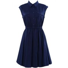 LUCLUC Dark Navy Lapel Sleeveless Skater Dress (2.760 RUB) ❤ liked on Polyvore featuring dresses, vestidos, sleeveless dress, sleeveless skater dress, no sleeve dress, blue skater dress and blue dress