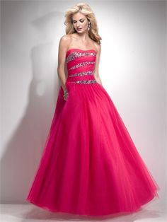 Ball Gown Scoop Neckline Beaded and Pleated Floor Length Tulle Prom Dress PD1422 www.tidedresses.co.uk £204.0000