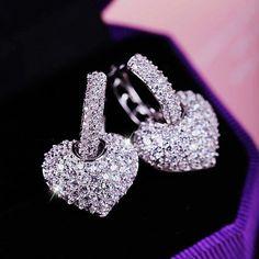 DJM AAA Calidad de Lujo Completo Diamante de LA CZ Del Corazón de Joyería de Moda Pendientes de Gota de la Boda Para Las Mujeres (DJ0014)