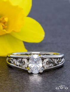 Filigree Oval Diamond Engagement Ring. Green Lake Jewelry