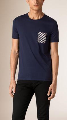 Polka-Dot Print Pocket Cotton T-shirt   Burberry