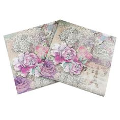 Lunch Paper Napkins-20pcs 33x33cm Printed Paper Napkin for Decoupage Pink Flower and Eiffel Tower Napkins for Wedding