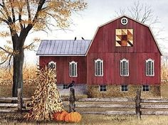 """Trendy Decor Ready to Hang Framed Print White Frame 38 In. x 26 In. Autumn Leaf Quilt Block Barn by Billy Jacobs at Lowe's. """"Autumn Leaf Quilt Block Barn"""" a framed Giclee print by artist Billy Jacobs, in a stylish white frame. This art features an autumn Barn Pictures, Country Barns, Country Life, Country Living, Amish Barns, Country Decor, Country Roads, Barn Quilt Patterns, Sewing Patterns"""