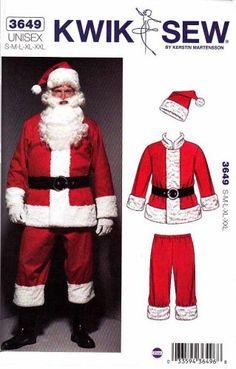 Kwik Sew Sewing Pattern 3649 Unisex size S-XXL (chest Santa Suit Costume Christmas Suit, Christmas Sewing, Christmas Costumes, Santa Costumes, Clown Costumes, Father Christmas, Christmas Deco, Diy Costumes, Costume Ideas
