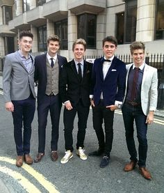 Joey Graceffa, Alfie Deyes, Marcus Butler, and Jim Chapman. THEY ALL LOOK SO SPIFFY