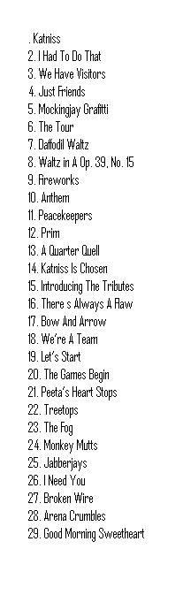 Catching Fire Score track list  who knew a track list could give you so many feels