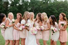 mis matched pink bridesmaid dresses
