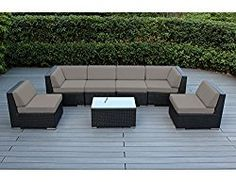 Ohana Collection 7 Piece Ohana Outdoor Patio Wicker Sectional Sofa Set – Sunbrella Taupe