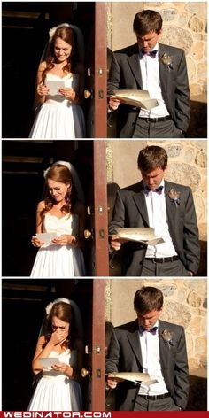 Love this wedding photo idea. I like how her letter to him is pages long, but his letter to her is on a little card!,